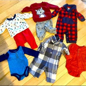 Eleven 0 to 3 month boy clothing pieces